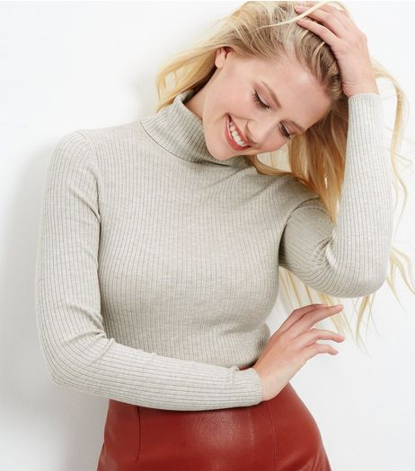 Cream Ribbed Turtle Neck Jumper  | New Look
