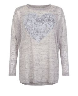 Blue Vanilla Grey Rose Heart Print Top | New Look