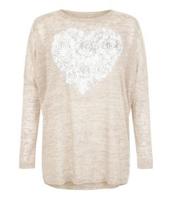 Blue Vanilla Stone Rose Heart Print Top | New Look