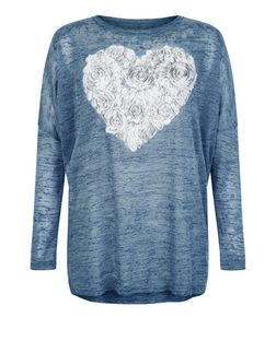 Blue Vanilla Blue Rose Heart Print Top  | New Look