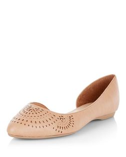 Wide Fit Tan Laser Cut Out Cut Out Pointed Pumps  | New Look