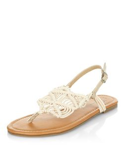 Teens Cream Crochet Sandals  | New Look