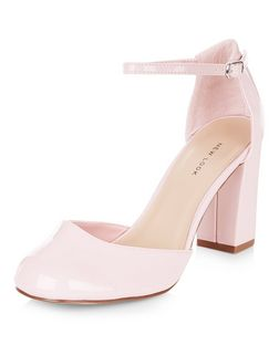 Pink Patent Ankle Strap Block Heels | New Look