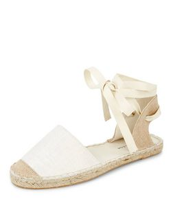 Wide Fit Cream Canvas Lace Up Espadrilles | New Look