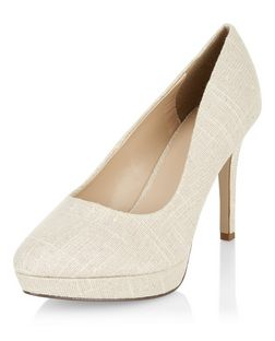 Wide Fit Cream Canvas Pointed Court Shoes  | New Look