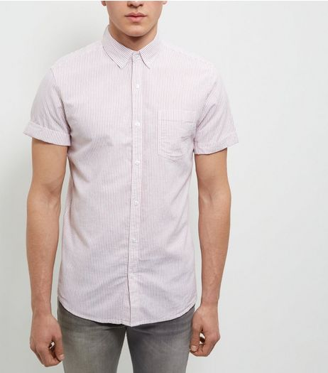 Red Stripe Single Pocket Roll Sleeve Shirt  | New Look