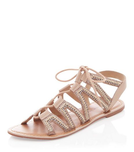 Teens Stone Leather Beaded Ghillie Sandals | New Look