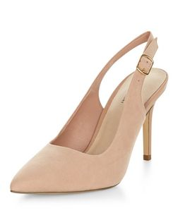 Cream Comfort Pointed Sling Back Heels  | New Look