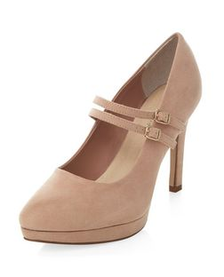 Wide Fit Stone Comfort Double Strap Platform Heels  | New Look