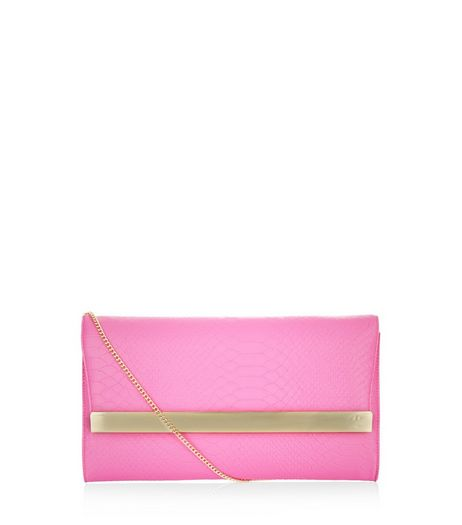 Pink Textured Metal Bar Clutch  | New Look