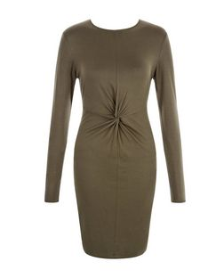 Khaki Twist Front Bodycon Dress  | New Look