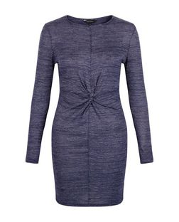 Blue Marl Twist Front Long Sleeve Dress | New Look