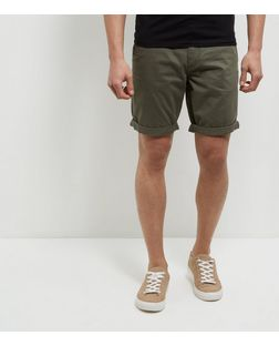 Produkt Khaki Turn Up Shorts | New Look