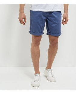 Produkt Blue Turn Up Shorts | New Look