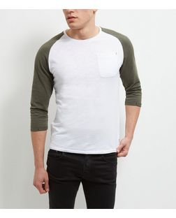 Produkt Khaki Contrast 3/4 Sleeve Top | New Look