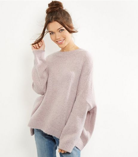 Pink Oversized Long Sleeve Jumper  | New Look