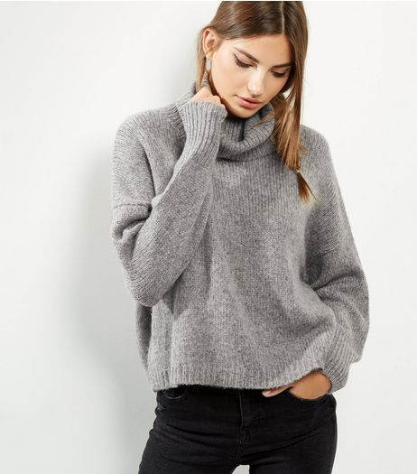 Grey Cowl Neck Long Sleeve Cropped Jumper  | New Look