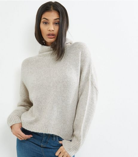 Cream Cowl Neck Long Sleeve Cropped Jumper  | New Look