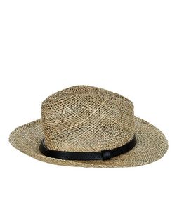 Cream Straw Contrast Trim Fedora  | New Look