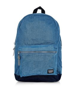 Blue Denim Pocket Front Backpack  | New Look