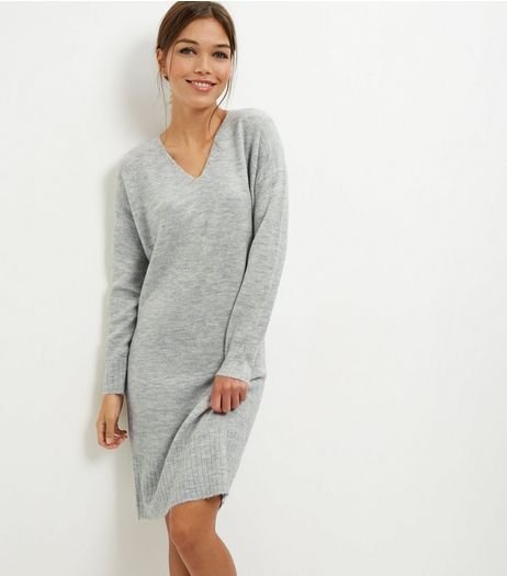 Pale Grey V Neck Tunic Dress | New Look