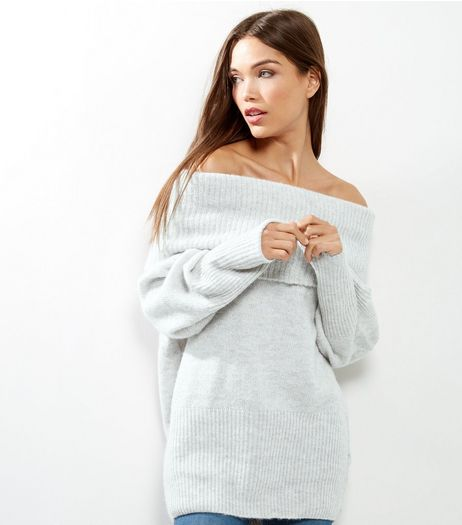 Pale Grey Ribbed Bardot Neck Jumper  | New Look