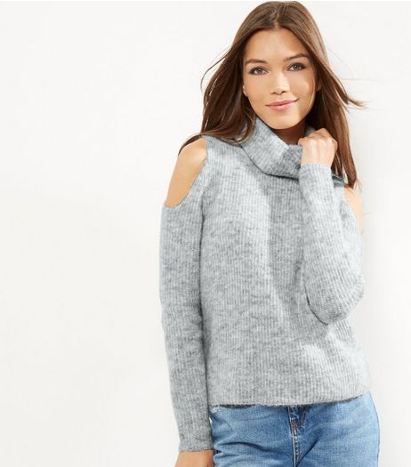 Pale Grey Ribbed Turtle Neck Cold Shoulder Jumper  | New Look