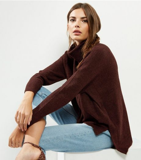 Brown Cowl Neck Step Hem Jumper  | New Look