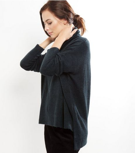 Dark Green Cowl Neck Step Hem Jumper | New Look
