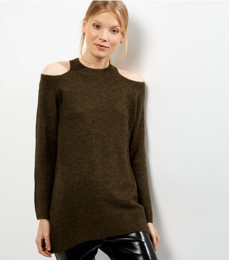 Khaki Cold Shoulder Jumper  | New Look