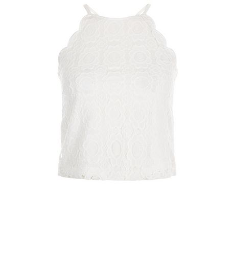 Teens White Lace Scallop Hem Top | New Look