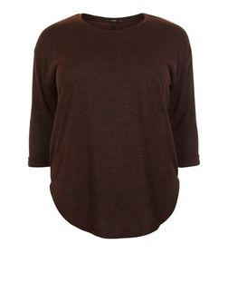 Plus Size Brown Dip Hem Top  | New Look