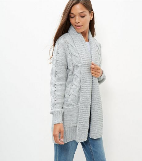 Pale Grey Cable Knit Carigan  | New Look