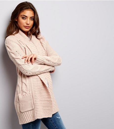 Shell Pink Cable Knit Cardigan  | New Look