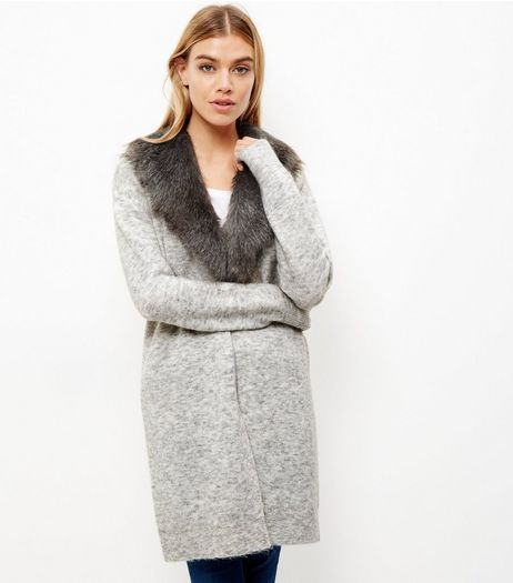 Grey Faux Fur Collar Cardigan  | New Look