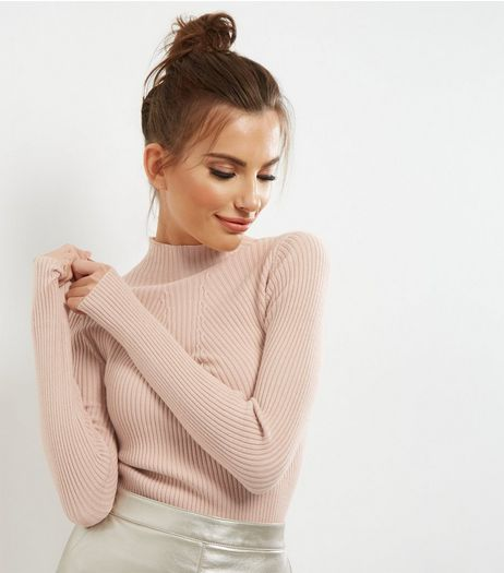 Pink Ribbed Funnel Neck Jumper | New Look