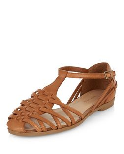 Wide Fit Tan Leather Woven Sandals  | New Look