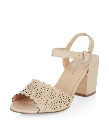 Sandalo  donna Wide Fit Stone Leather-Look Laser Cut Out Block Heels