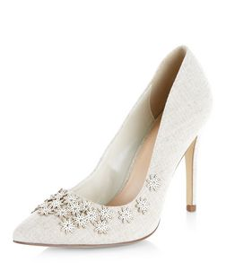 Wide Fit Stone Floral Embellished Pointed Court Shoes  | New Look