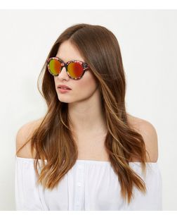 Pink Floral Print Mirrored Sunglasses | New Look