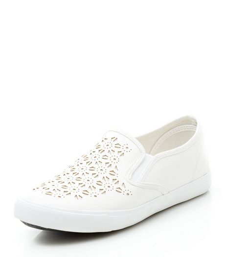 Wide Fit White Laser Cut Out Slip On Plimsolls | New Look