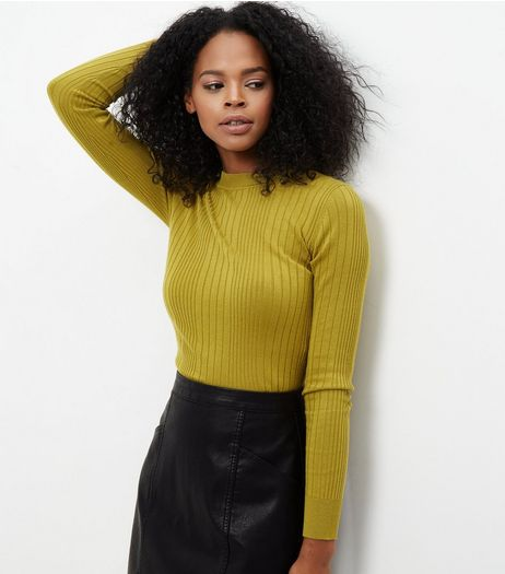 Green Ribbed Jumper  | New Look