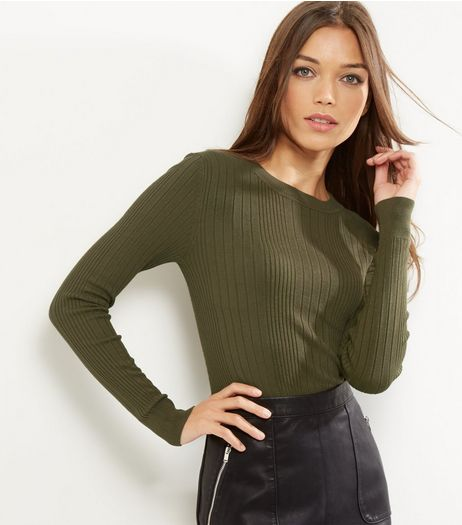 Khaki Ribbed Long Sleeve Jumper | New Look