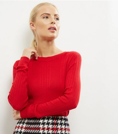 Red Ribbed Long Sleeve Jumper | New Look