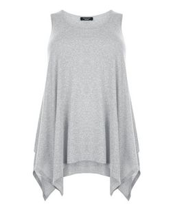 Curves Grey Hanky Hem Vest | New Look