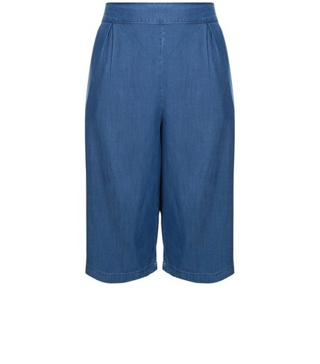 Curves Blue Denim Culottes  | New Look