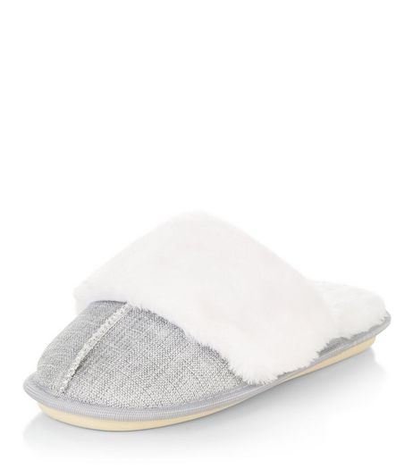 Grey Canvas Flecked Mule Slippers | New Look