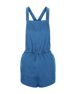 Blue Denim Tie Waist Playsuit  | New Look