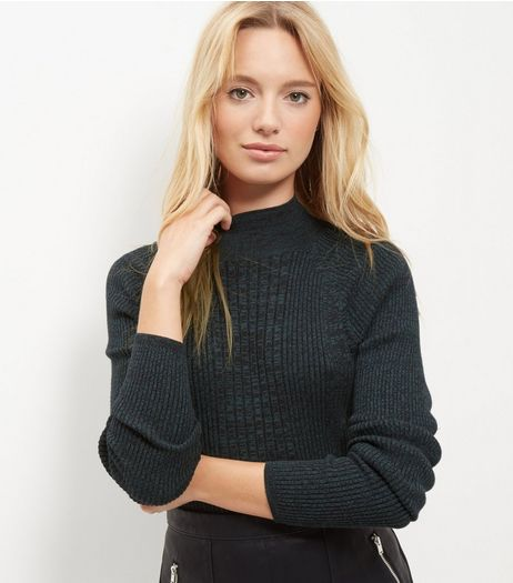 Dark Green Ribbed Funnel Neck Roll Sleeve Top | New Look