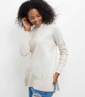 Cream Funnel Neck Step Hem Boxy Jumper